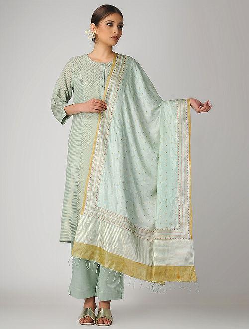 2add3d94af21a Buy Green Block-printed Tussar Silk Dupatta Online at Jaypore.com