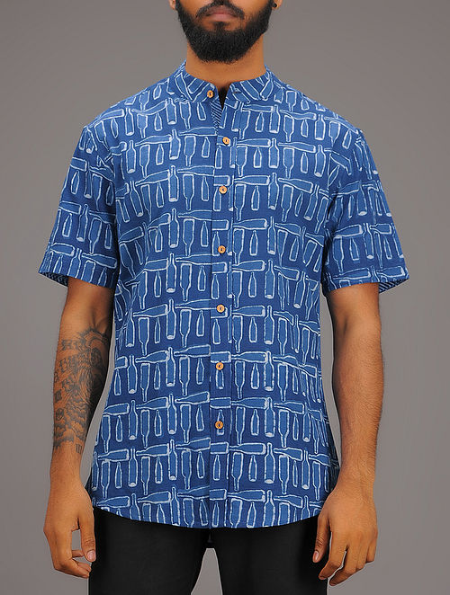 Blue-White Block-printed Collared Half Sleeve Cotton Shirt