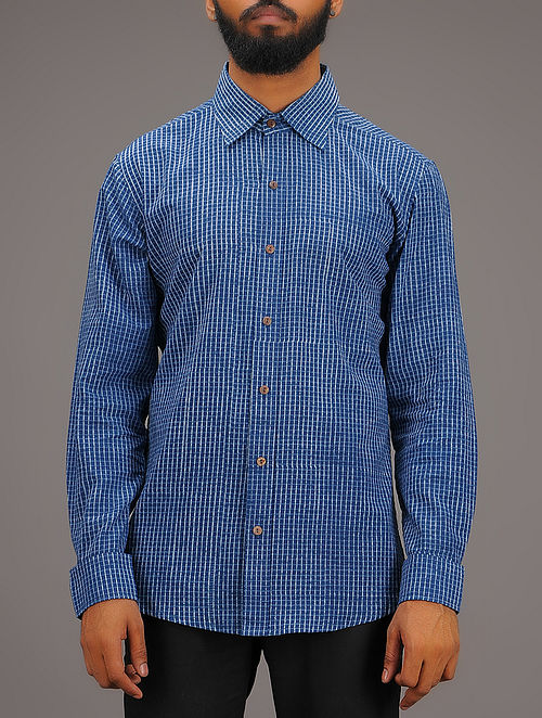 Blue-White Checkered Collared Full Sleeve Cotton Shirt