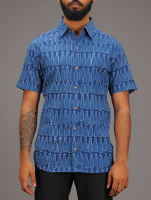Blue-White Block-printed Collared Half Sleeve Cotton Shirt
