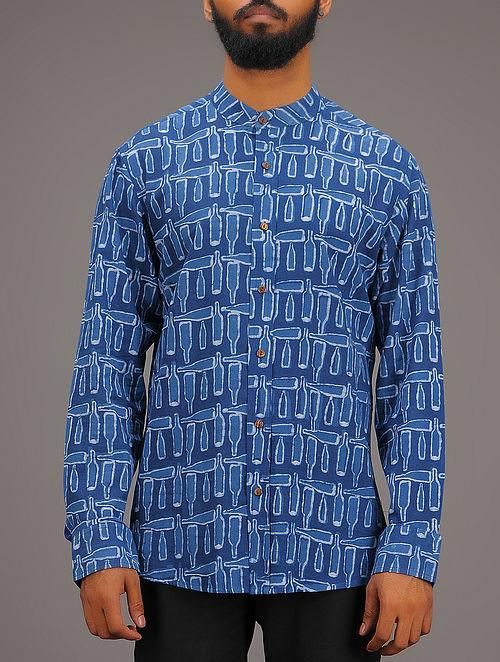 Blue-White Block-printed Mandarin Collar Full Sleeve Cotton Shirt