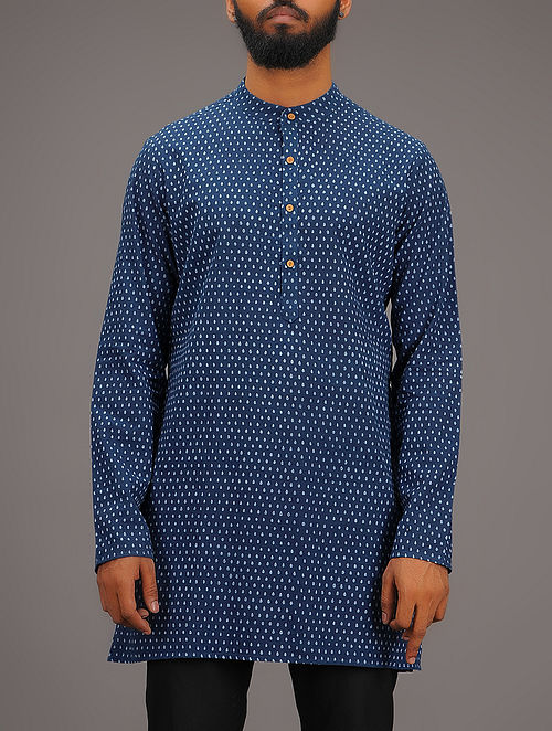Blue-White Printed Mandarin Collar Full Sleeve Cotton Kurta