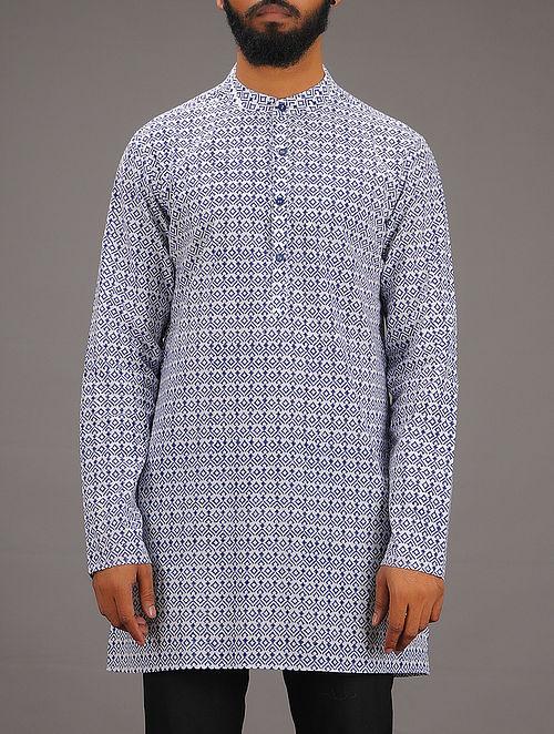 White-Blue Block-printed Mandarin Collar Full Sleeve Cotton Kurta