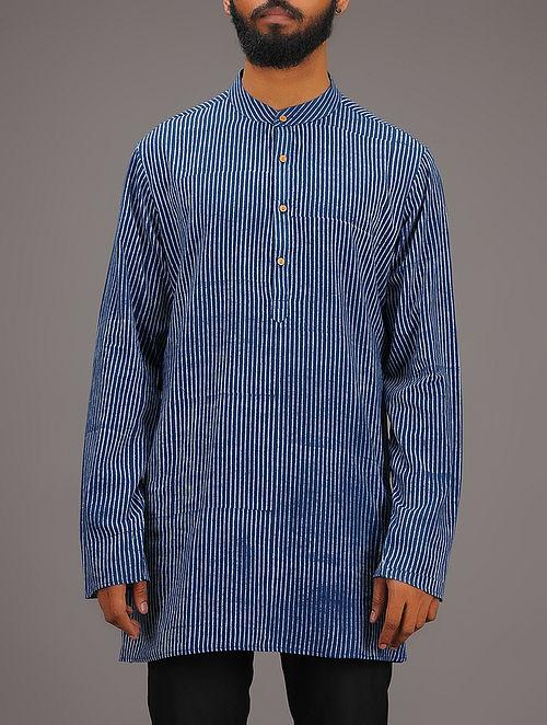 Blue-White Striped Mandarin Collar Full Sleeve Cotton Kurta