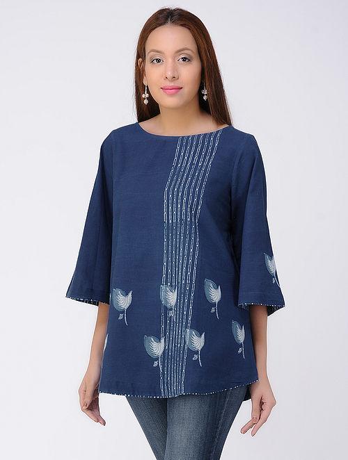 Indigo-Ivory Dabu-printed Cotton Top