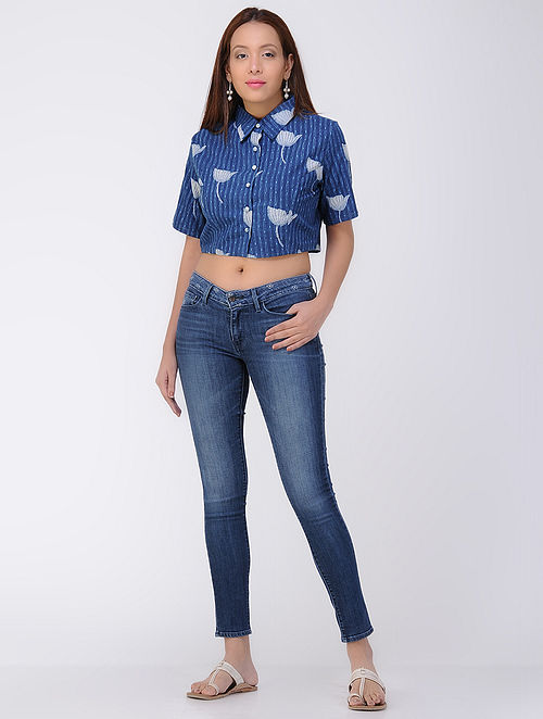 509ca9a88f53c Buy Indigo-Ivory Dabu-printed Cotton Crop Top Online at Jaypore.com