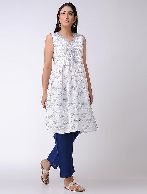Ivory-Blue Block-printed Pleated Cotton Kurta