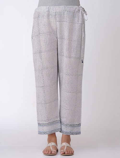 Ivory Block-printed Tie-up Waist Cotton Pants