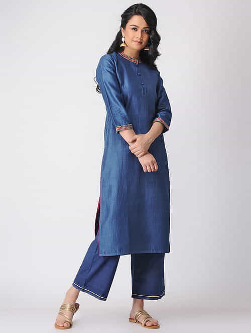 Indigo Quilted Chanderi Kurta with Embroidered Neck and Hem