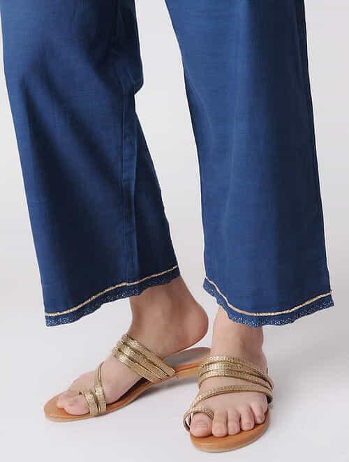 Indigo Elasticated Waist Cotton Pants with Embroidered Hem