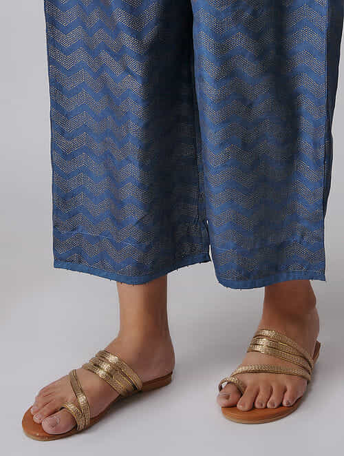 Indigo Elasticated Waist Khari-printed Mulberry Silk Pants with Moti Hem
