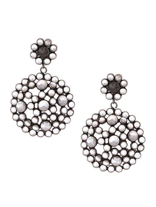 7efe18f0e4c Buy Glass Crystal Polki-inspired Silver Earrings with Floral Design Online  at Jaypore.com