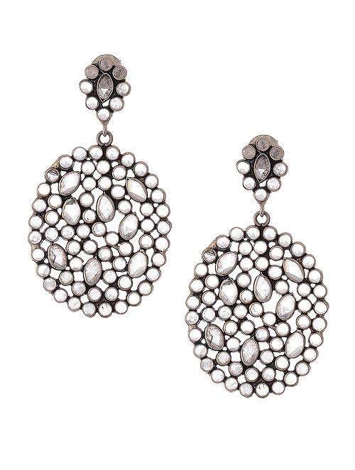 5b4dc1fb3c4 Buy Glass Crystal Polki-inspired Silver Earrings Online at Jaypore.com