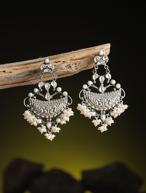 Pearl Kundan-inspired Silver Earrings with Floral Motif