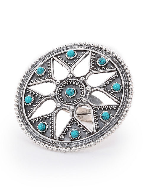 Turquoise Adjustable Silver Ring