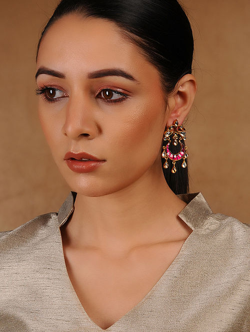Pink Glass Kundan-inspired Gold Tone Silver Earrings