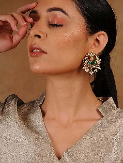 Green Glass Kundan-inspired Gold Tone Silver Earrings