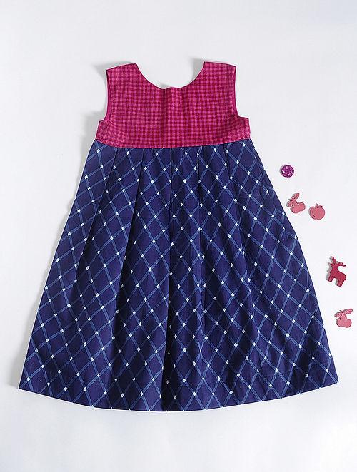 Magenta-Blue Checkered Round Neck Cotton Dress