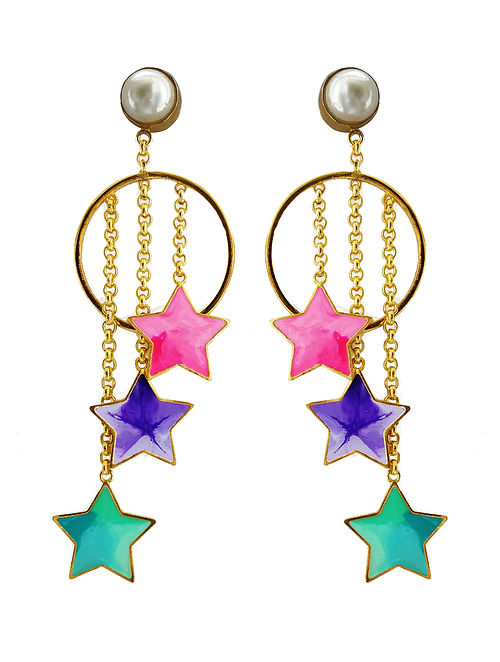 a826913274529a Stars and Pearl Multi-Color Enameled Gold-Plated Brass Earrings Colored  Whimsies