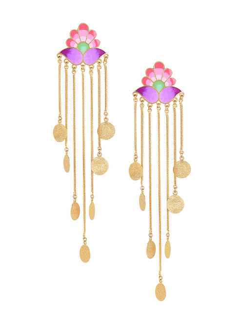 Pink Paradise Falls Enameled Gold Plated Brass Earrings