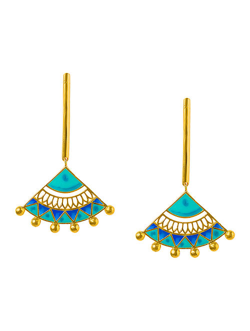Madhubani Blue-Turquoise Enameled Gold-plated Brass Earrings