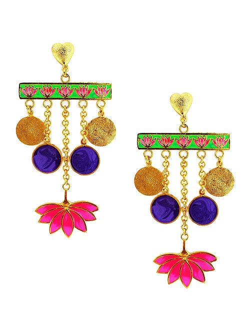 Lotus Love Blue-Pink Enameled Gold-plated Brass Earrings