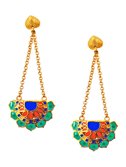 Jaipur fan Green-Blue Enameled Gold-plated Brass Earrings