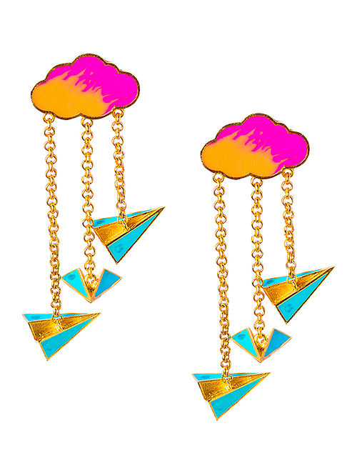 Paper Plane Blue-Pink Enameled Gold-plated Brass Earrings