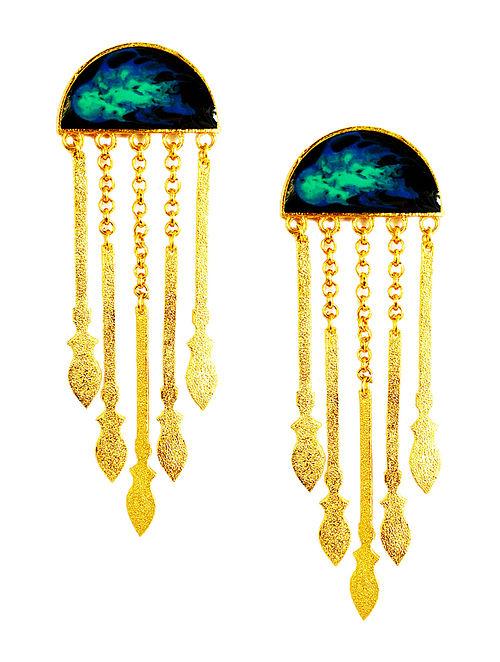 Tribal Spears Black Enameled Gold-plated Brass Earrings