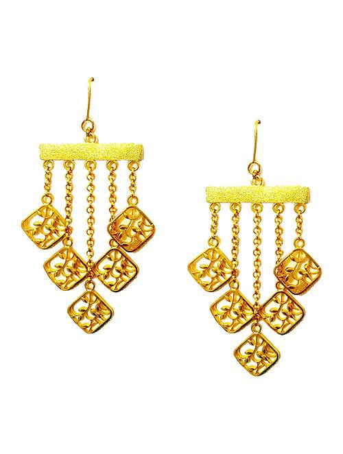 Gold Filigree Enameled Gold-plated Brass Earrings