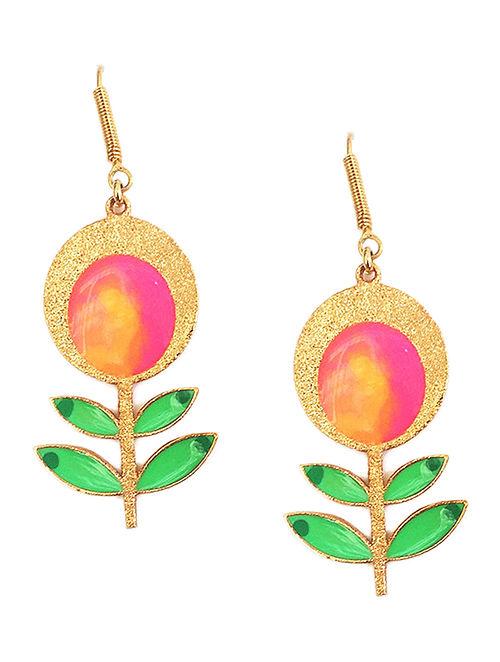 Flower in Bloom Green-Pink Enameled Gold-plated Brass Earrings