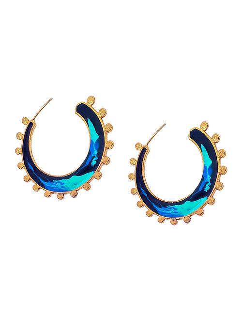 Tribal Twist Black-Blue Enameled Gold-plated Brass Earrings