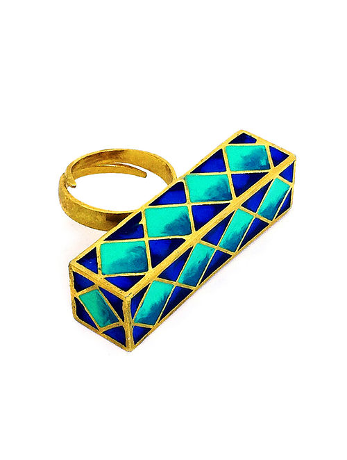 Madhubani Blue Enameled Gold-plated Brass Adjustable Ring