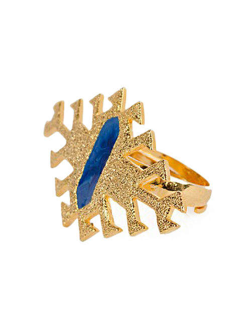 Aztec Blue Enameled Gold-plated Brass Adjustable Ring