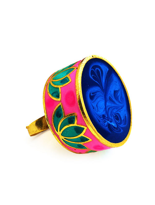 Statement Lotus Blue-Pink Enameled Gold-plated Brass Adjustable Ring