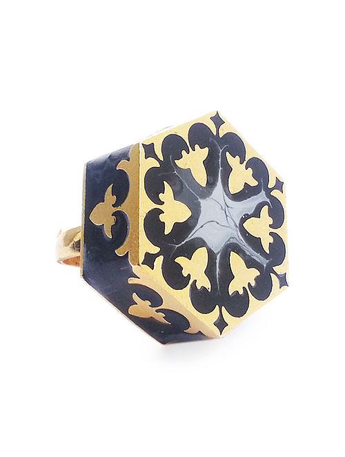 Grey Arabesque Enameled Gold-plated Brass Adjustable Ring