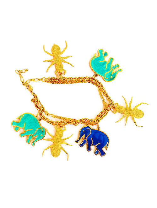 Hathi Cheeti Blue-Turquoise Enameled Gold-plated Brass Bracelet