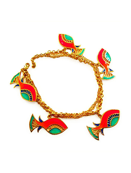 Fish Charm Red-Green Enameled Gold-plated Brass Bracelet