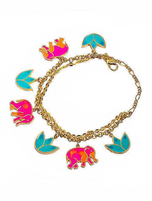 Elephant Lotus Pink-Turquoise Enameled Gold-plated Brass Bracelet