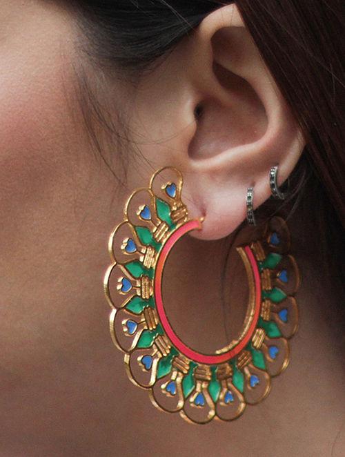 Illuminate Pink-Green Gold-plated Enamel Earrings