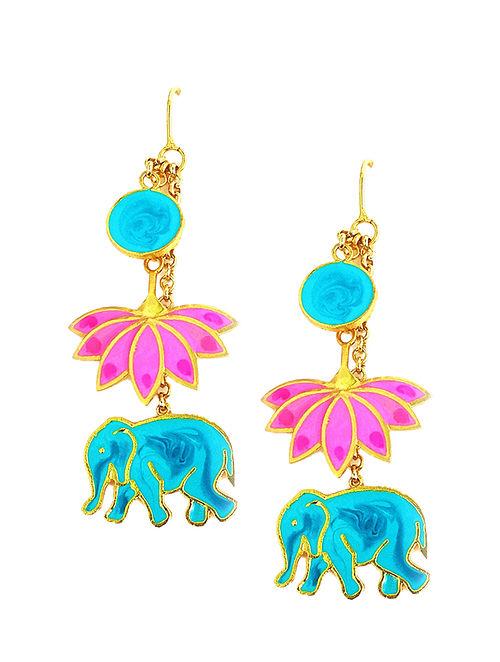 ef95b62609 Buy Elephant Lotus Pink-Blue Gold-plated Enamel Earrings Online at ...