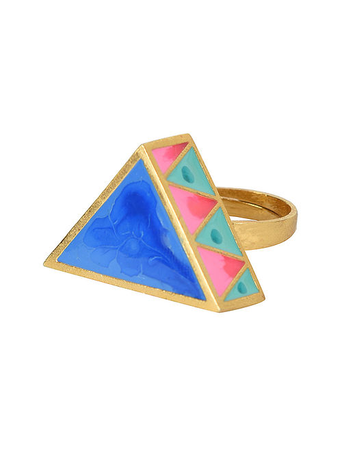 Blue-Pink Gold-plated Madhubani Adjustable Ring