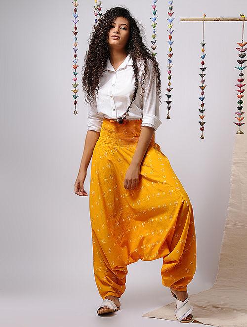 Yellow-Ivory Elasticated-waist Bandhani Cotton Afghan Pants