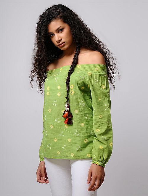 Green-Yellow Bandhani Off-Shoulder Cotton Top with Smocking