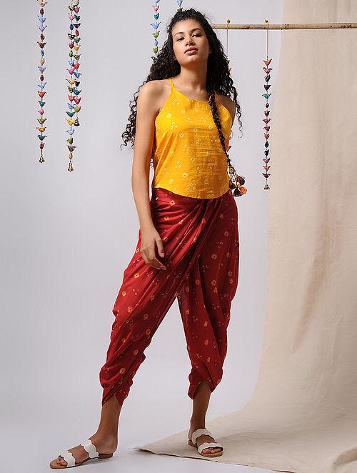 Red-Yellow Elasticated-waist Bandhani Cotton Dhoti Pants