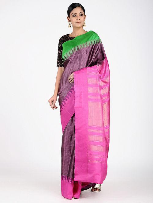 8f2ce030d4900 Pink-Green Gadwal Silk Saree with Zari Woven Sarees