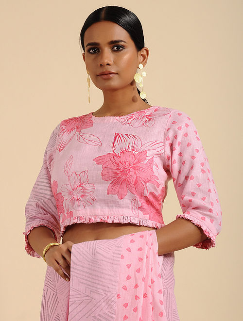 Perky Pink Printed Linen Blouse