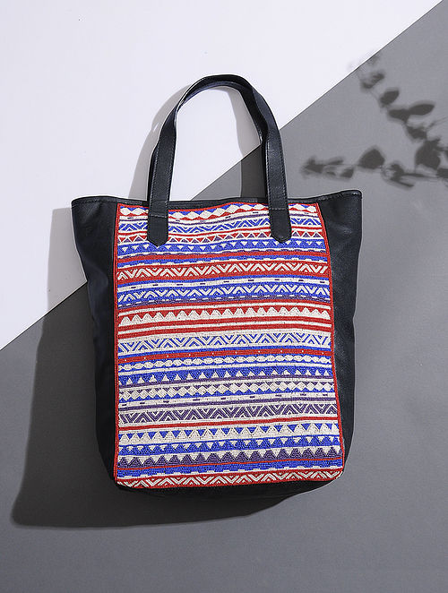 Black-Blue Handcrafted Tote with Bead Embellishments