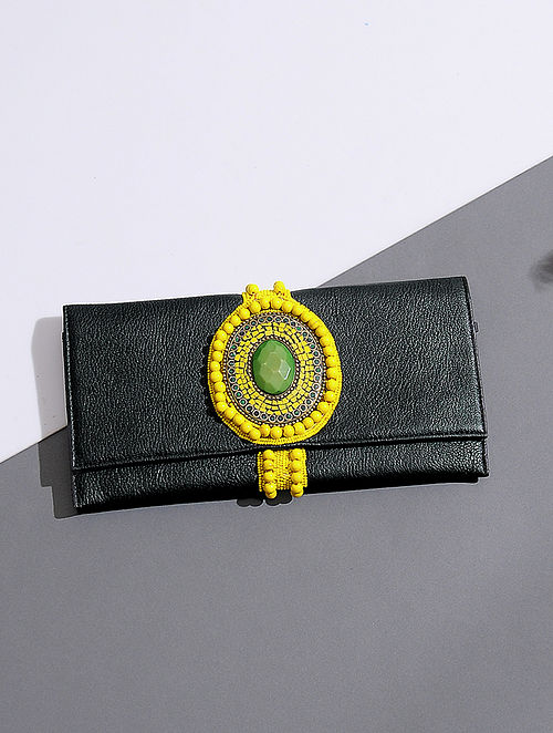 Black-Yellow Handcrafted Leather Clutch with Bead Embellishments