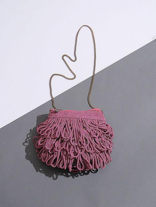Pink Handcrafted Silk Sling Bag